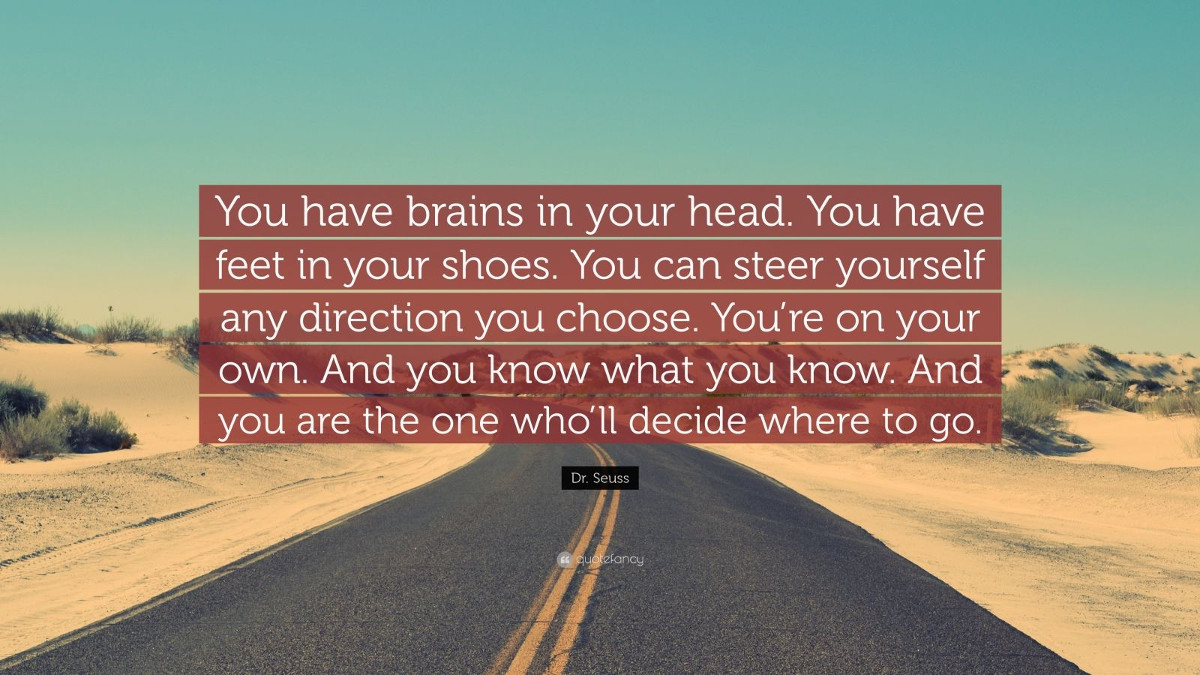 Quote You have brains in your head You have feet in your. - Dr Seuss